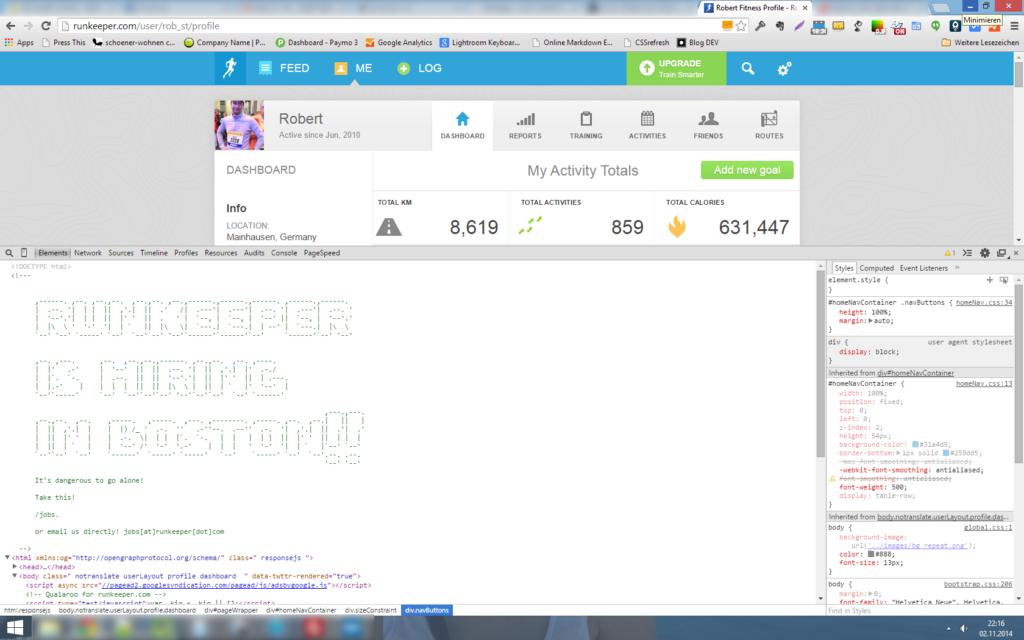 So kann man auch sehr gezielt um neue Talente werben: Einfach mal den Quelltext mit einem dezenten Hinweis bestücken. Screenshot von RunKeeper.