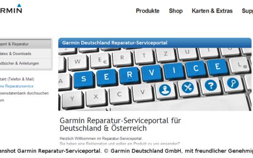 Screenshot von der Webseite des Garmin Reparaturportal