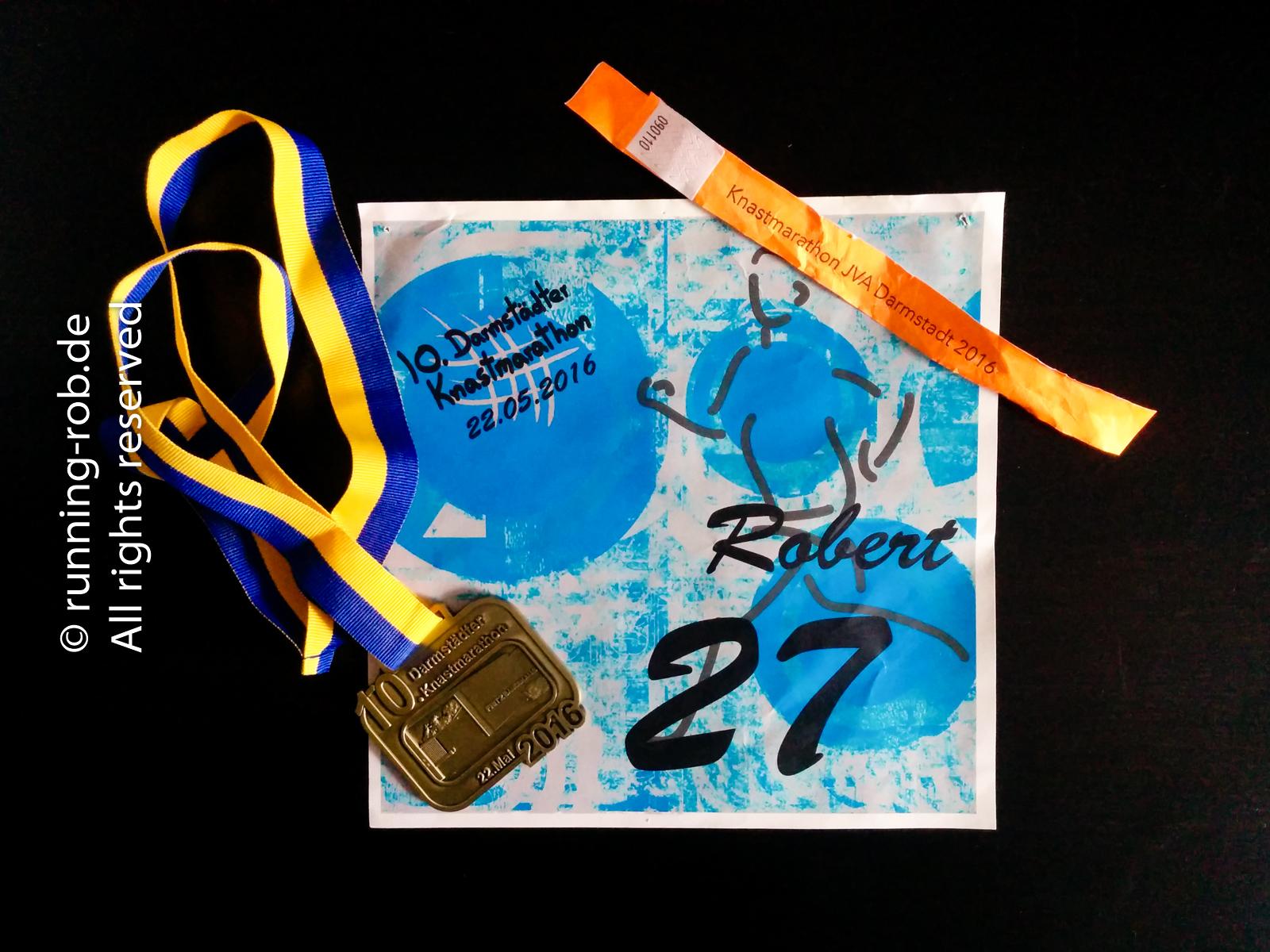 Darmstädter Knastmarathon 2016 Startnummer und Medaille