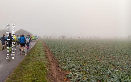 Die Läuferkolonne des Ultramarathon Rodgau 2018 schiebt sich durch den Nebel.